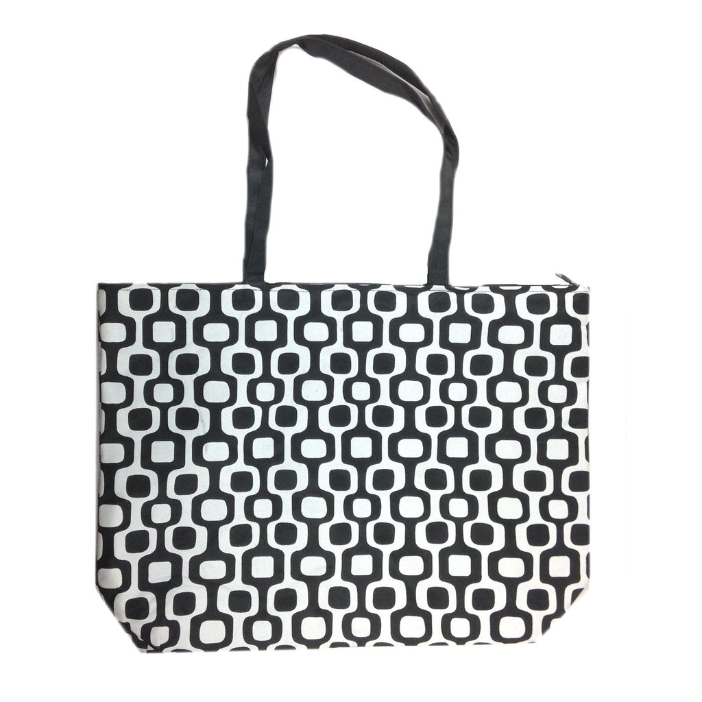 Colorful Large Beach Tote Bag with Bonus Cosmetic Bag (Black & White Squares) - Mellow Monkey  - 1