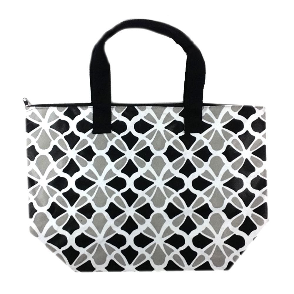 Colorful Large Beach Tote Bag with Bonus Cosmetic Bag (Black & Grey Flowers) - Mellow Monkey  - 1