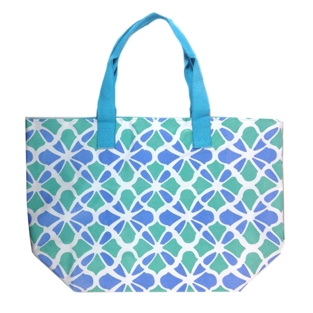 Colorful Large Beach Tote Bag with Bonus Cosmetic Bag (Blue & Green Flowers) - Mellow Monkey  - 1