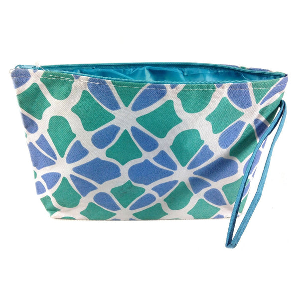 Colorful Large Beach Tote Bag with Bonus Cosmetic Bag (Blue & Green Flowers) - Mellow Monkey  - 2