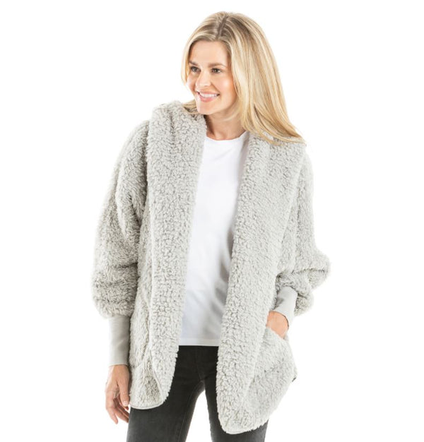 Sherpa Body Wrap Cardigan With Hoodie for Women - Gray
