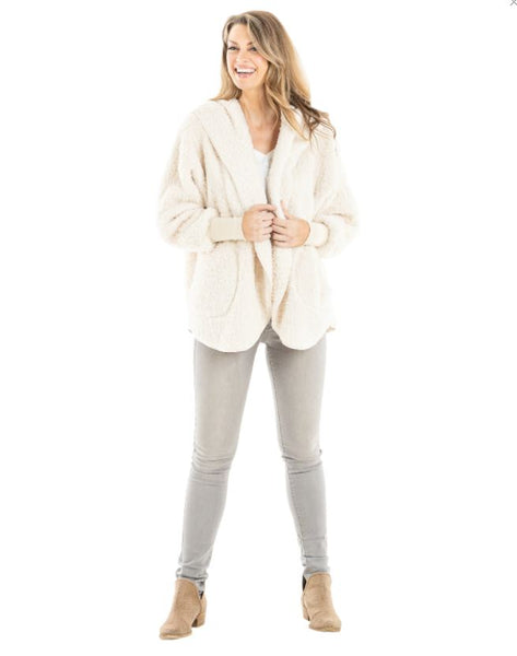 Sherpa Body Wrap Cardigan With Hoodie for Women - Oatmeal
