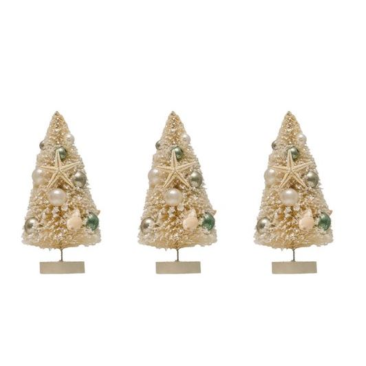 Bottle Brush Trees w/ Shells & Ornaments on Wood Bases, Cream Color, Boxed Set of 3 - 6-in