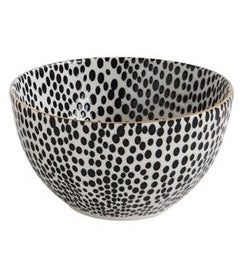 Stoneware Bowl Black Pattern with Gold Electroplating - 5-in