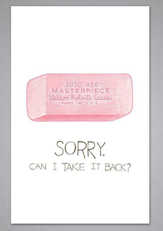 Sorry. Can I Take It Back? Greeting Card