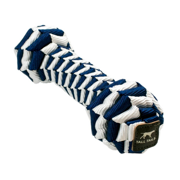 Navy and White Braided Bone Dog Toy