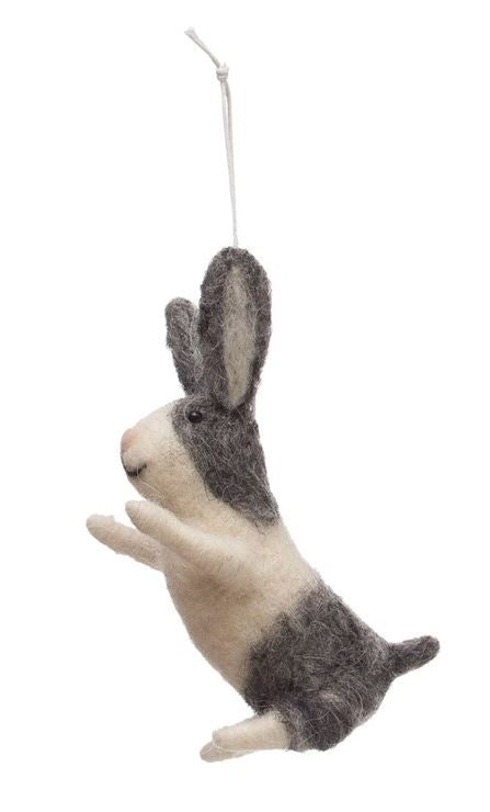 Wool Felt Bunny Rabbit Ornament - 4-3/4-in - Jumping
