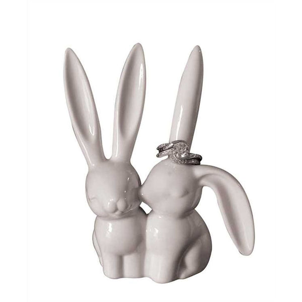 Bunny Love Ceramic Rabbit Ears Ring Holder - 4-in - Mellow Monkey