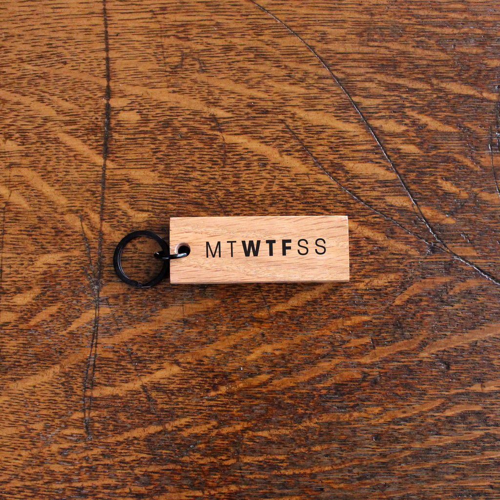 Woodward Throwbacks - MTWTFSS Reclaimed Wood Keychain