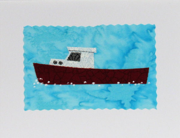 Lobster Boat Card - Hand Made Fabric and Paper Greeting Card
