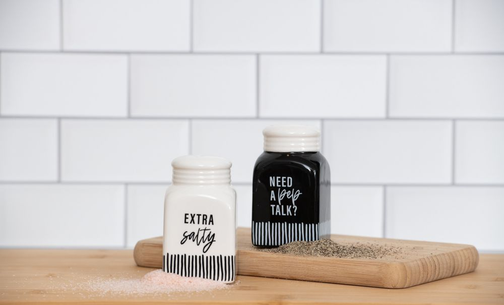 Need A Pep Talk and Extra Salty - Ceramic Salt & Pepper Shakers - 3-1/2-in