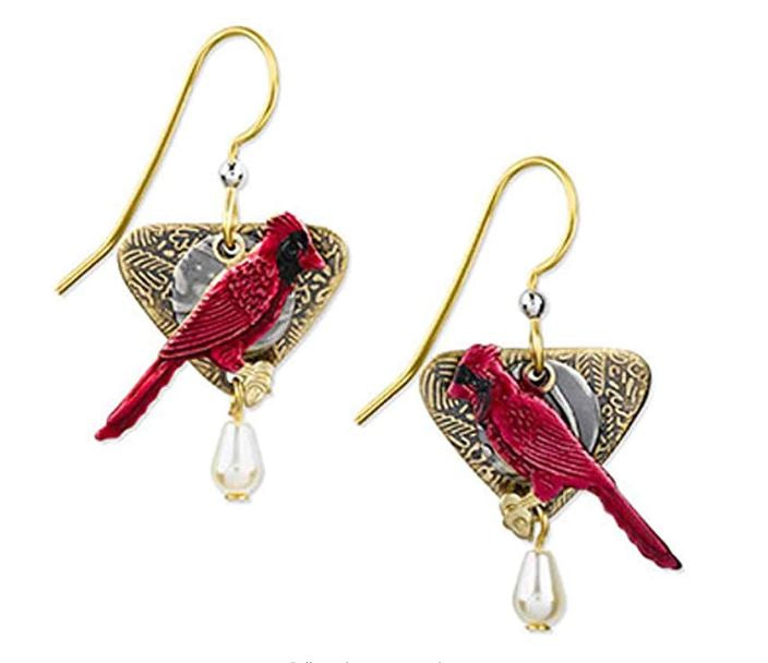 Silver Forest Cardinal Dangle Fashion Earrings