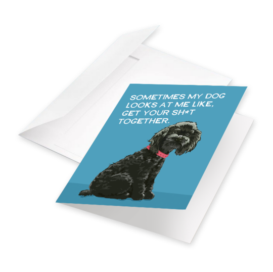 Sometimes My Dog Looks At Me Like, Get Your Sh*t Together - Greeting Card from BluntCard