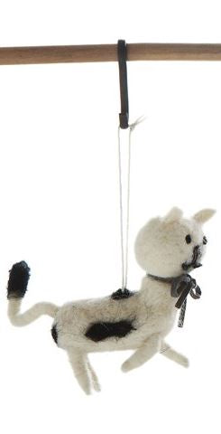 Wool Felt Cat Ornament - 3-1/2-in - White with Black Ribbon