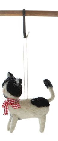 Wool Felt Cat Ornament - 3-1/2-in - Black and White - Red Checkered Ribbon