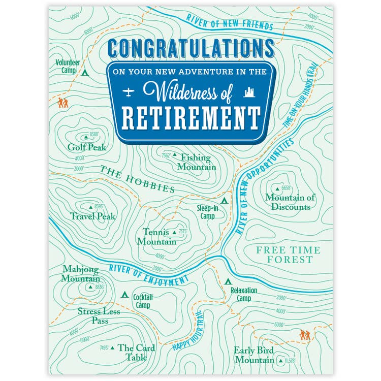 Congratulations On Your New Adventure In The Wilderness of Retirement - Topography Map Greeting Card