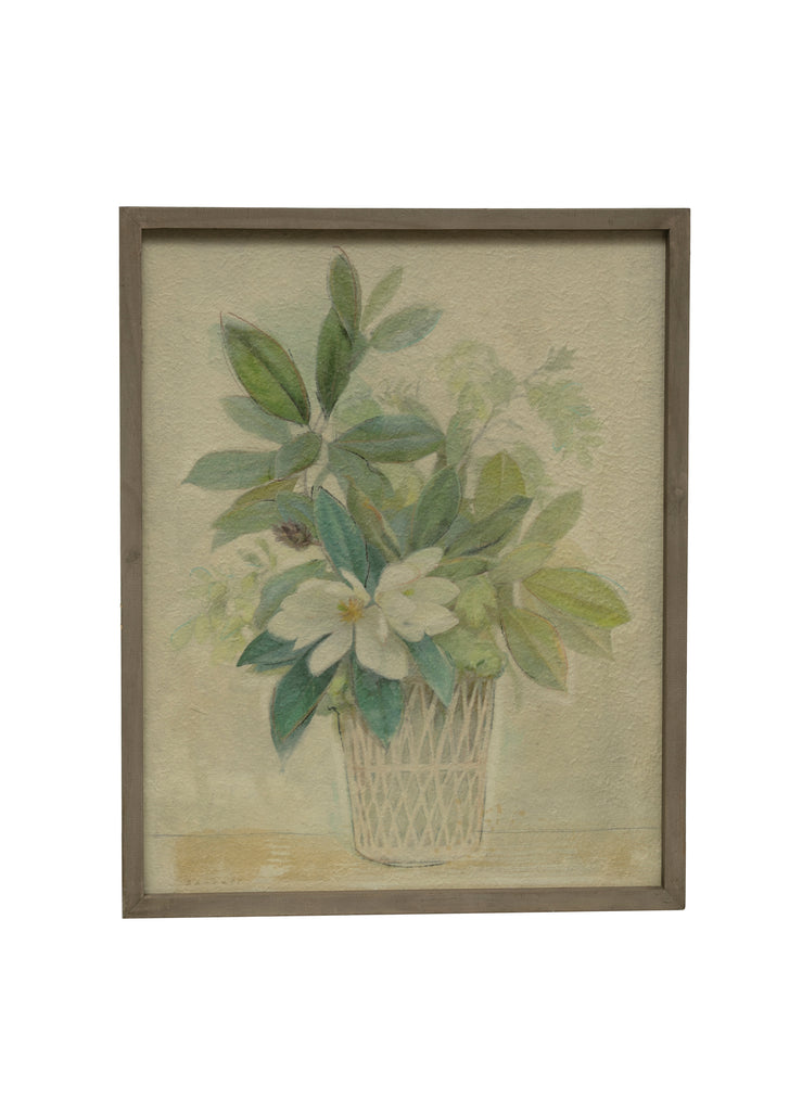 "28""H Magnolia in Planter Wood Framed Wall Décor"