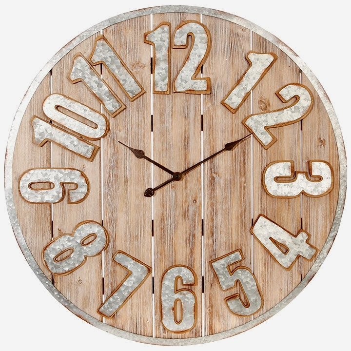 Refined Farmhouse Wood And Metal Clock