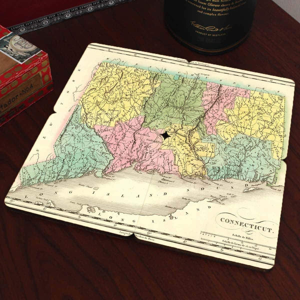 Connecticut Old World Map Coasters - Set of 4