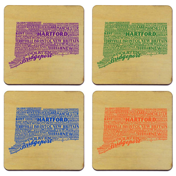 Connecticut State Word Cloud Typography Coasters - Set of 4