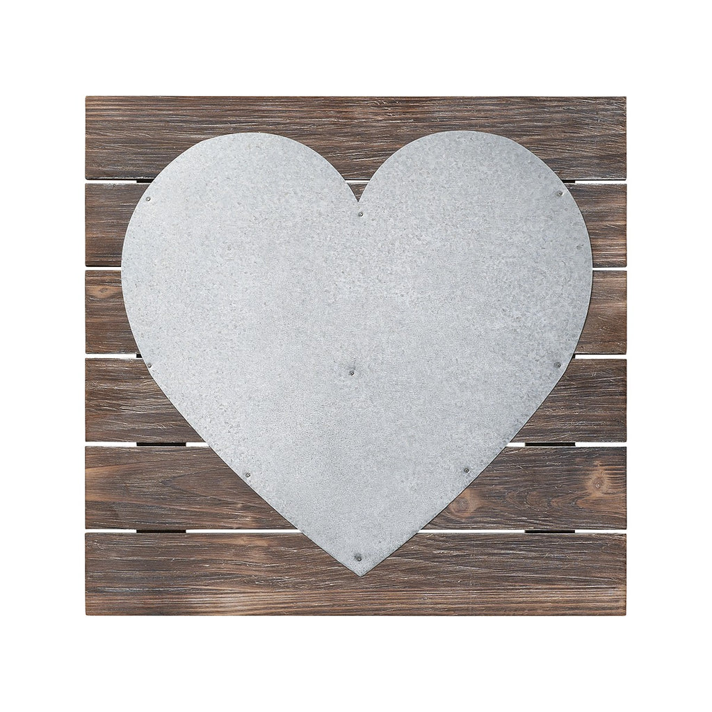 Galvanized Metal Heart Wooden Pallet Sign - 12-in