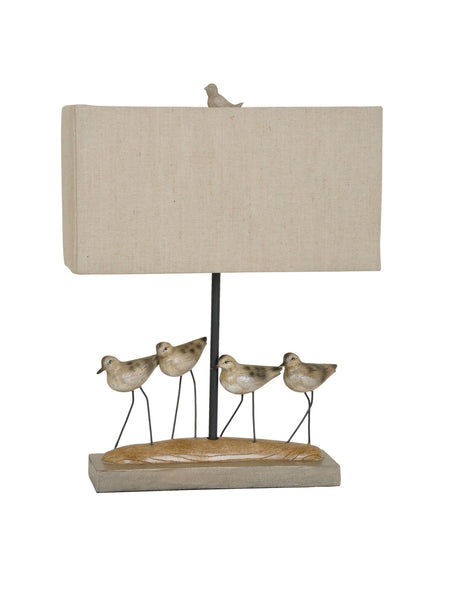 Shore Birds Resin Table Lamp with Coastal Birds and Linen Shade - 23-in