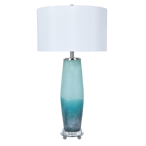 Seaside Table Lamp with Frosted Sea Glass Finish - 33-in H