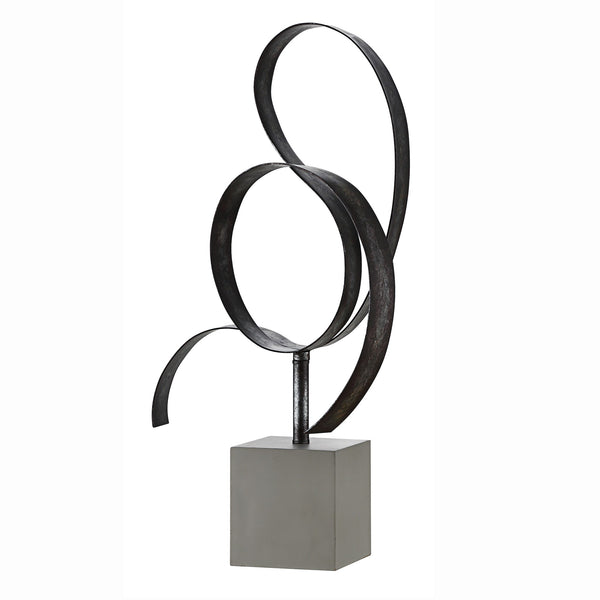 Lan Free Form Steel Sculpture in Concrete Base - 25-in