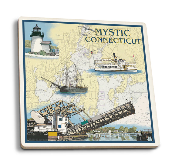 Mystic Connecticut - Nautical Chart Ceramic Coaster
