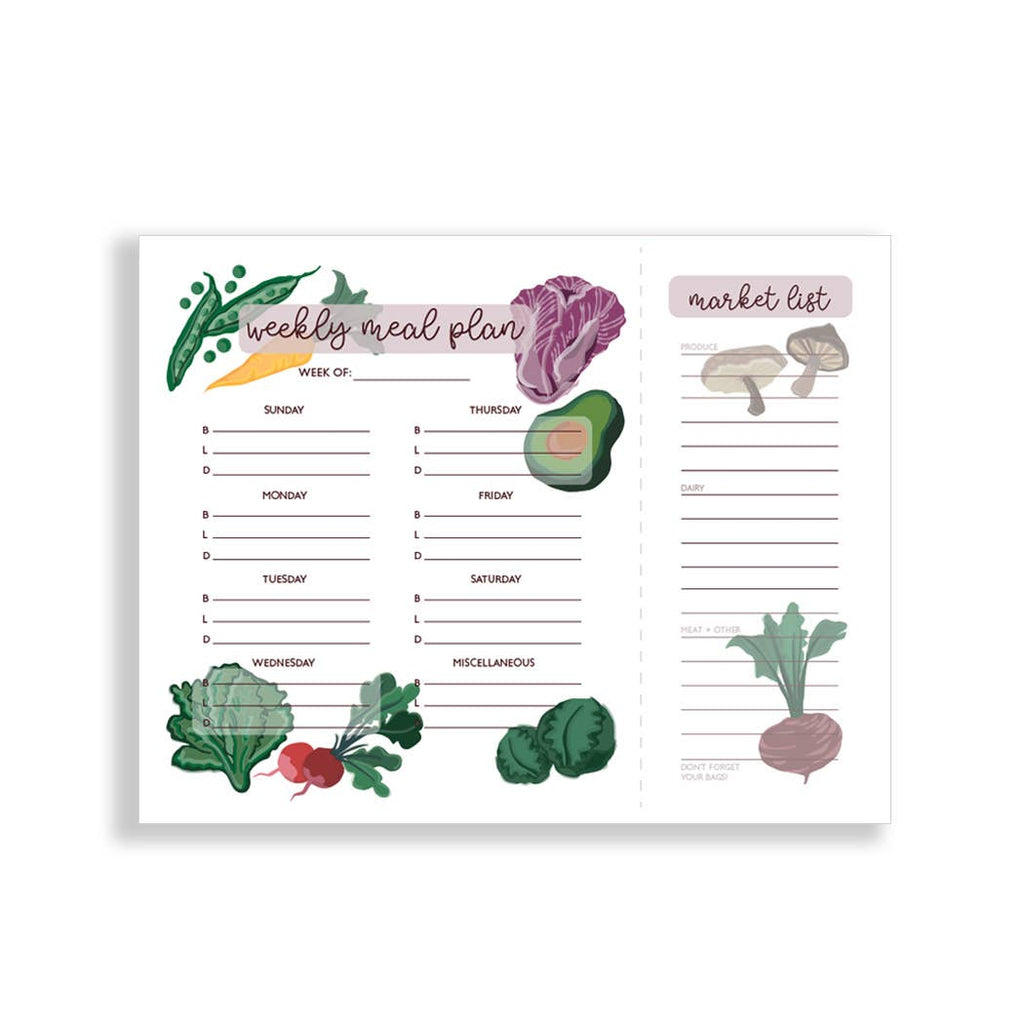Weekly Meal Plan - Grocery Organizer Notepad