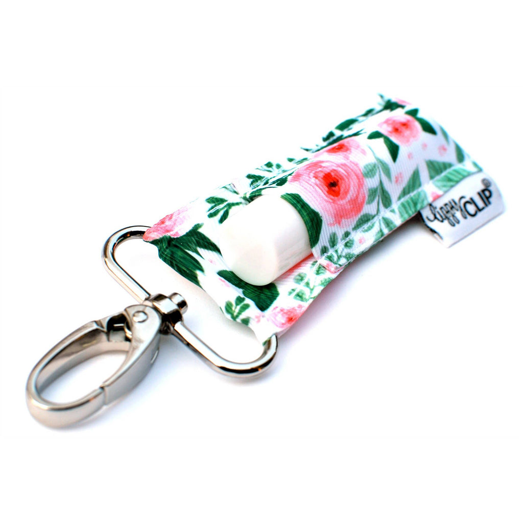 Green and Pink Watercolor Floral LippyClip Lip Balm Holder