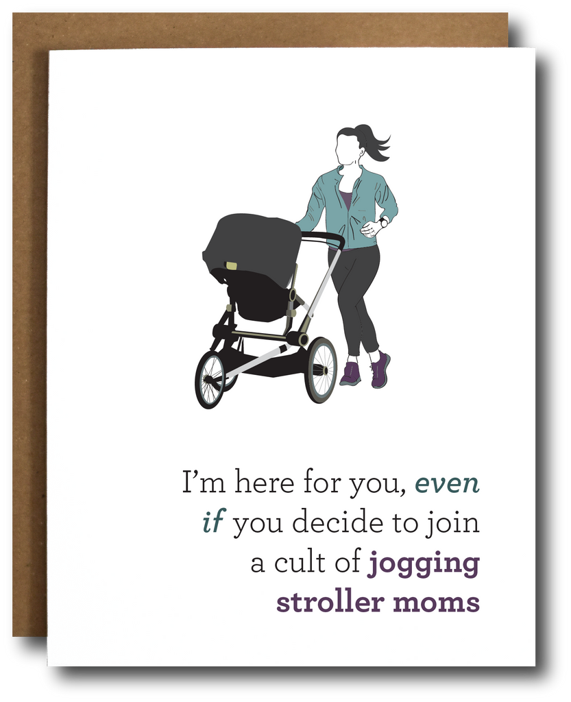 Stroller Runner Mom Greeting Card
