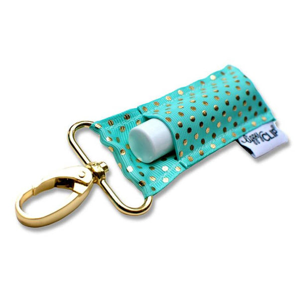 Aqua Gold Dots LippyClip Lip Balm Holder