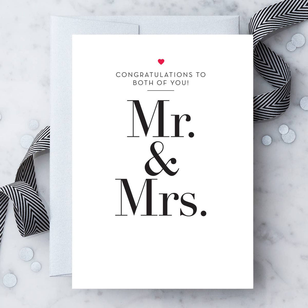 Mr. & Mrs. - Congratulations To The Happy Couple - Wedding Marriage Greeting Card