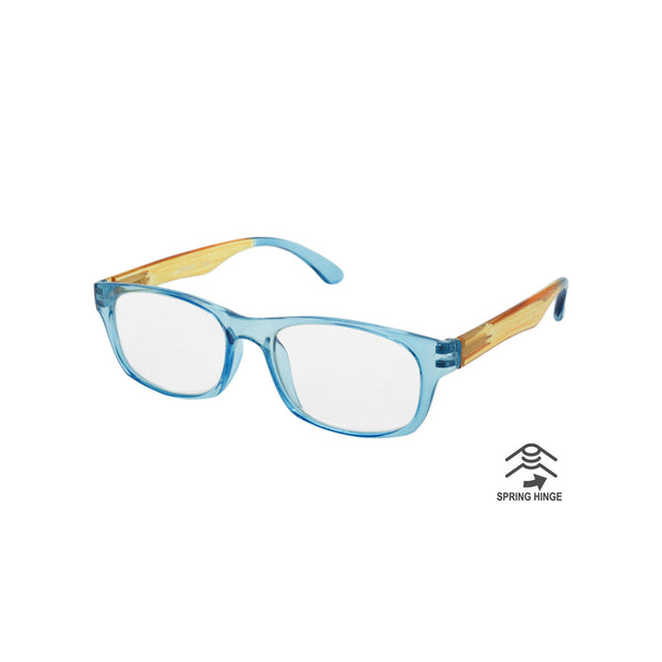 Island Inspired Reading Glasses - Unisex - With Woven Carry Case - Blue/Orange/Blue