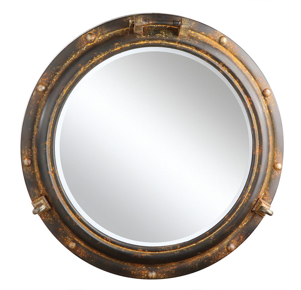 Waterside Round Metal Porthole Framed Wall Mirror | Rust Finish 22-in