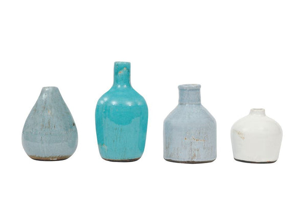 Terra-cotta Vases - Blue and White - Set of 4