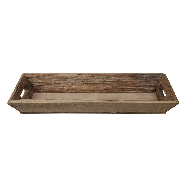 Decorative Rectangular Wood Tray - Brown - 21-1/2-in