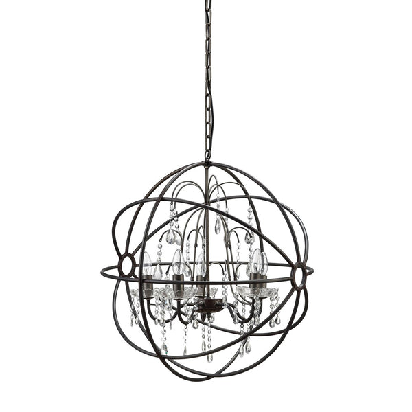 Metal Orb and Crystal Chandelier 24-1/2-in
