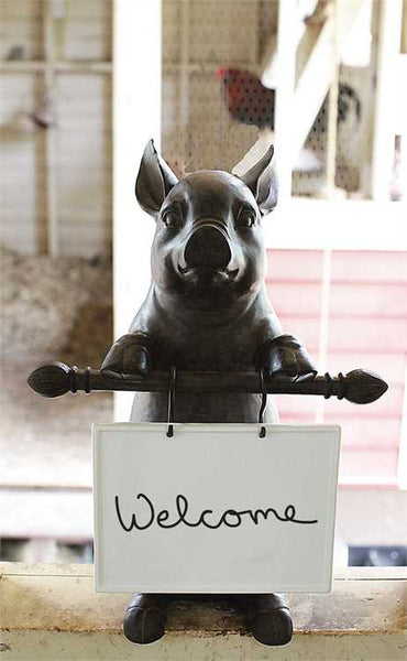 Pig Statue with Ceramic Dry Erase Message Board - 16-in H
