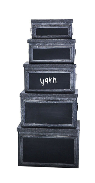 Set of 5 Galvanized Metal Bins with Chalkboard Face