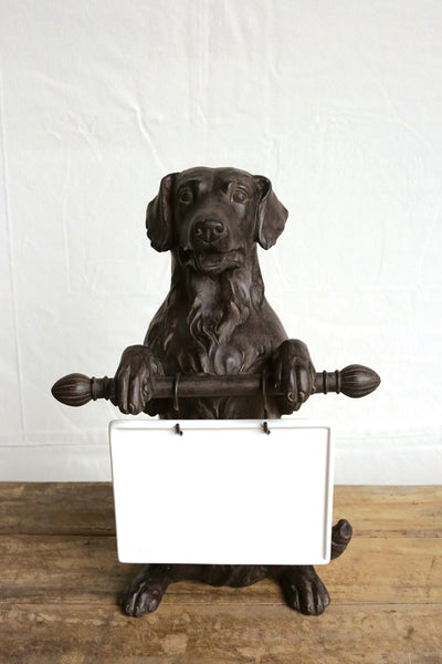 Dog Statue with Ceramic Dry Erase Message Board - 16-in H