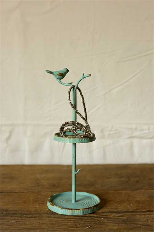 Pewter Jewelry Holder with Bird 11-1/2-in - Mellow Monkey