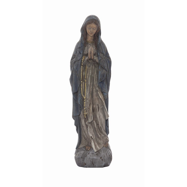 Antiqued Resin Virgin Mary Statue - 19-1/2-in.