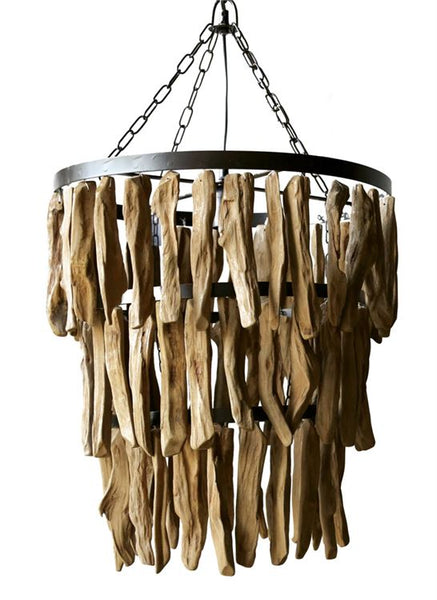Three Tiered Driftwood and Metal Chandelier 20-in
