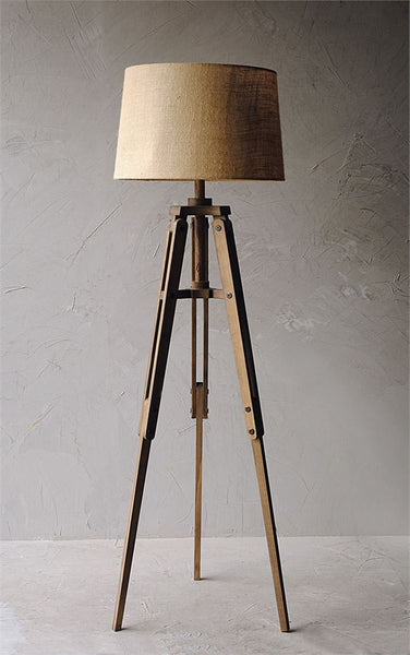 Mariner Wood Tripod Floor Lamp with Burlap Shade - 62-1/2-in