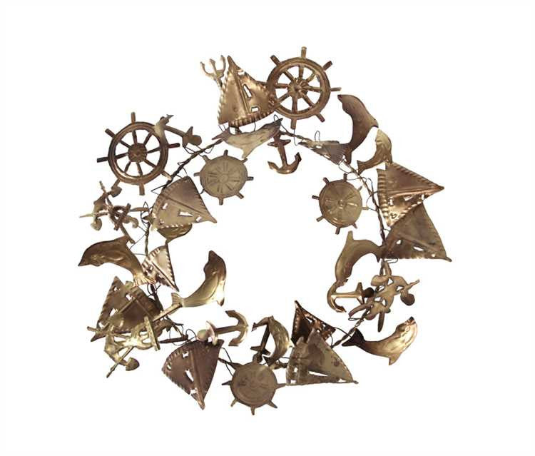 Round Metal Sea Wreath - Gold Finish 15-1/2""