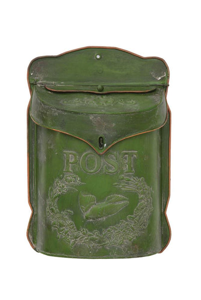 Distressed Green Embossed Tin Post Box | 15-1/2-in