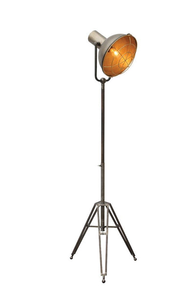 Vintage Metal Floor Lamp with Tripod Stand | 61-3/4-in