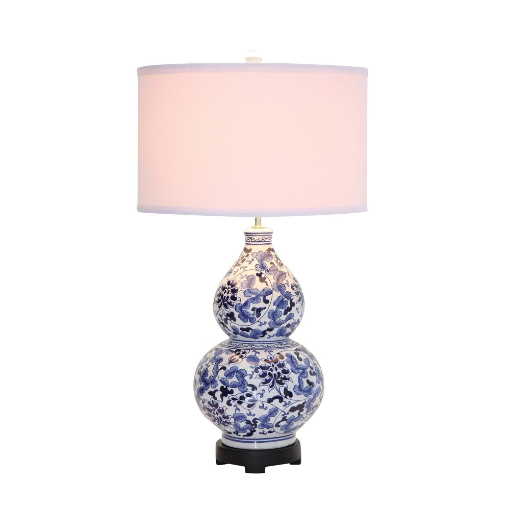 Blue & White Ceramic Table Lamp with Linen Shade